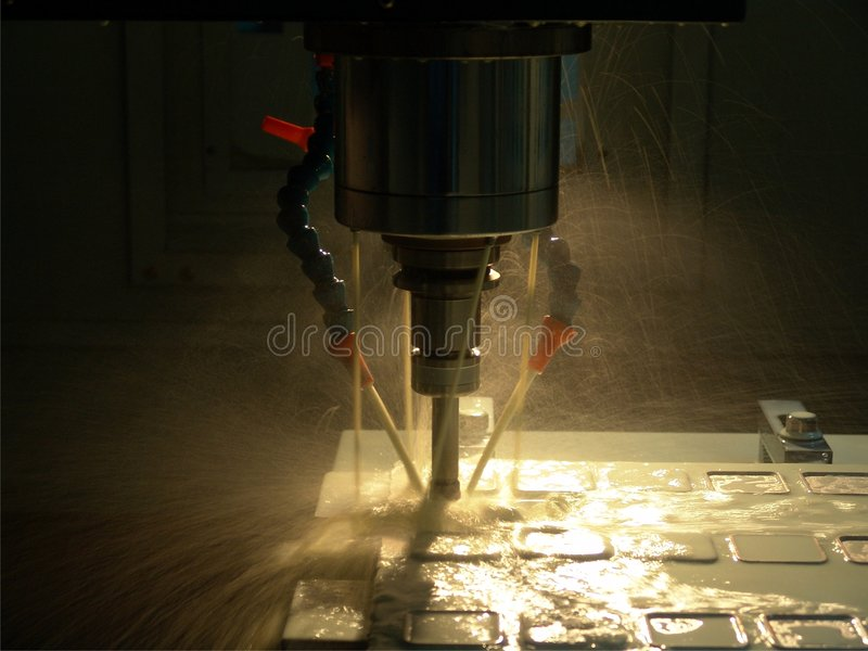 High speed milling machine. Milling on CNC milling system Aluminium royalty free stock photo