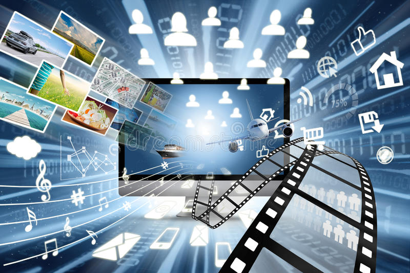 High speed of multimedia sharing concept. Image of high speed of internet connection in multimedia sharing concept with many objects coming out from monitor stock illustration