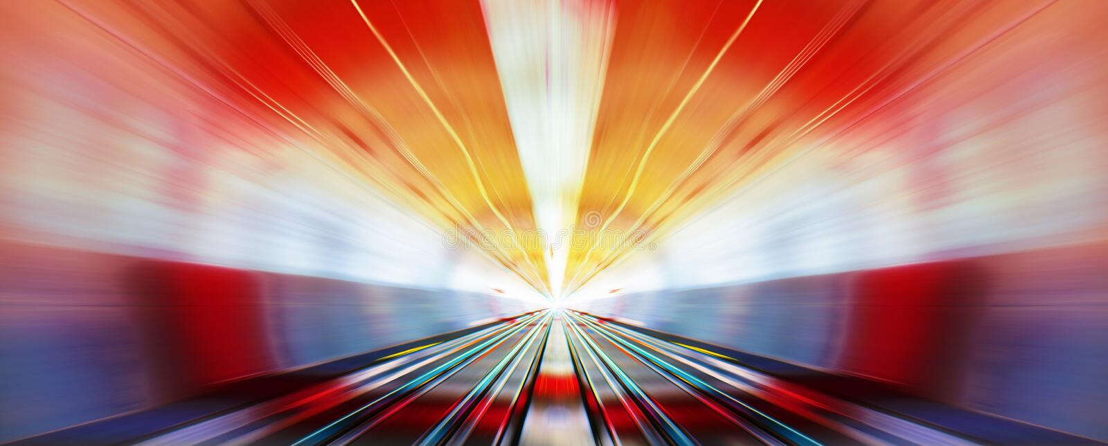 High speed in night. Driving at high speed in subway - motion blur
