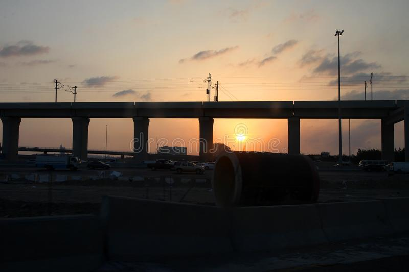 High speed railway jeddah in the sunset royalty free stock image