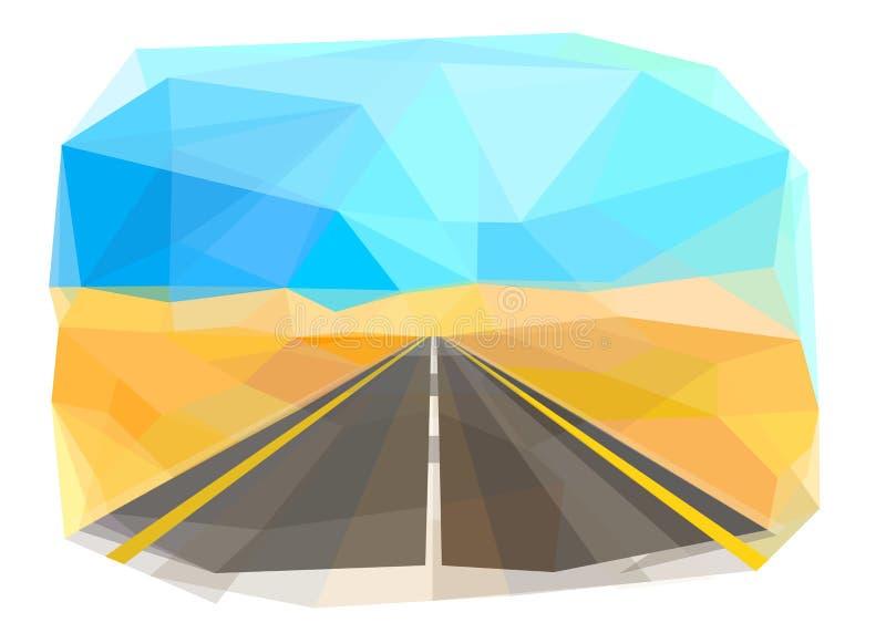 High-speed road, desert, vector stock illustration