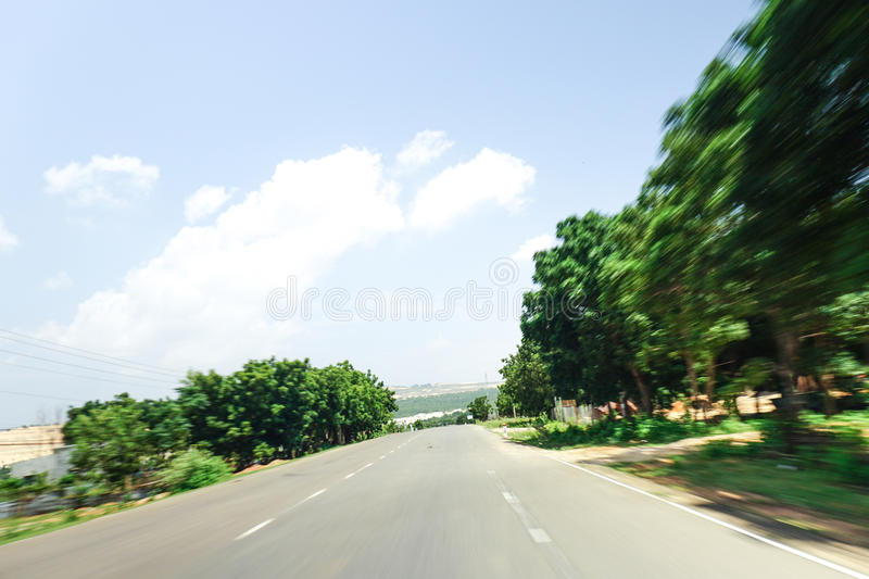 High speed running of forest road royalty free stock images