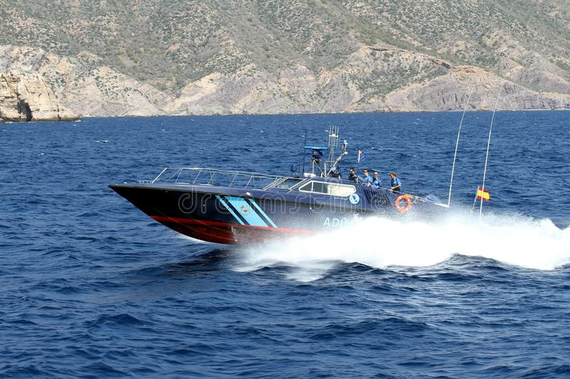 Fast boat of the Spanish Customs Service. stock photo