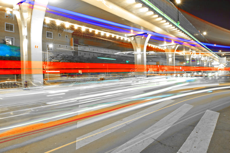 Download High Speed Traffic And Blurred Light Trails Stock Photo - Image: 16142196