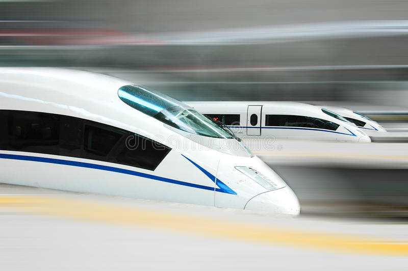 High speed train. Of China, the streamlined design of a modern bullet train