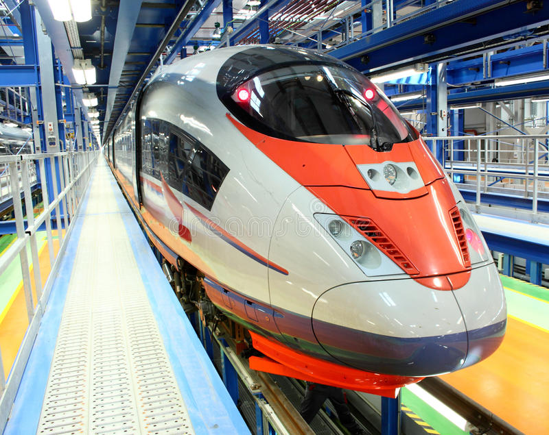 High-speed train. In the service depot royalty free stock images