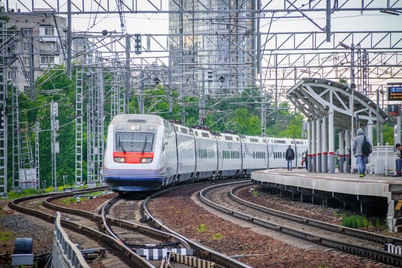High-speed train Allegro. Fast train. Public transport. Railway. Passenger transportation. Russia, St. Petersburg May 31, 2019 royalty free stock photos
