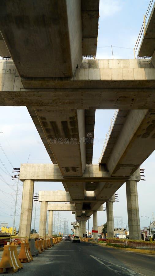 High speed train bridge rails under construction royalty free stock photo
