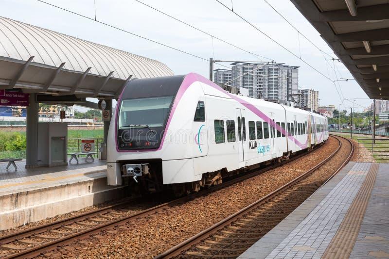 High Speed Train at Kuala Lumpur, Malaysia. KUALA LUMPUR MALAYSIA-JUNE 24:High Speed Train by KLIA Transit at Bandar Tasik Selatan Station on June 24, 2016 at royalty free stock image