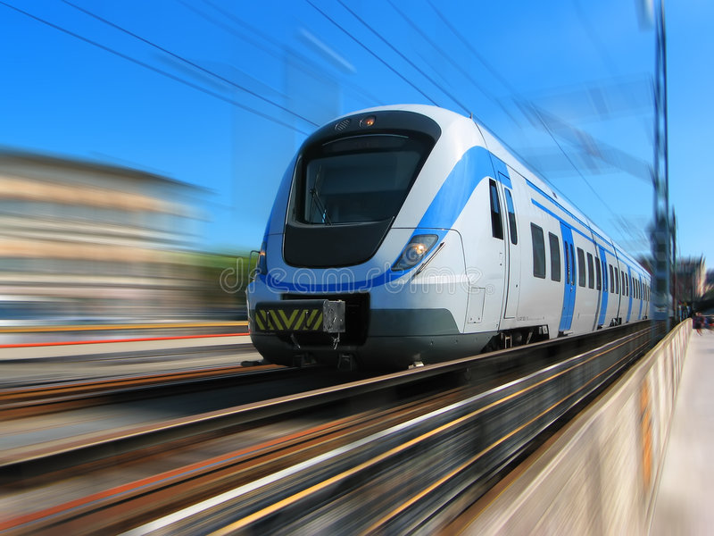 High-speed train in motion. High-speed train with motion blur background stock images