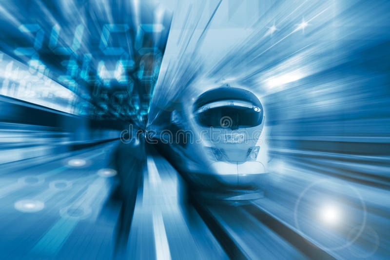 The high-speed train with motion blur. The high-speed train background with motion blur royalty free stock photography