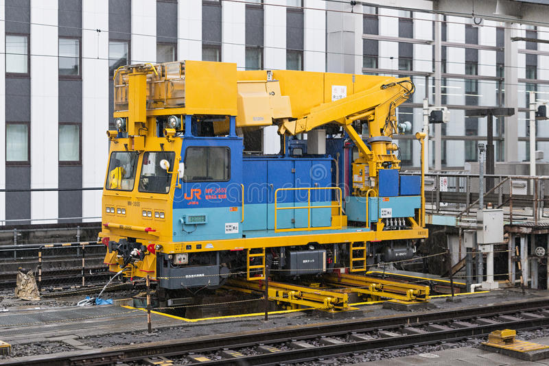 He high-speed train)overhead wire maintenance vehicle. stock photography