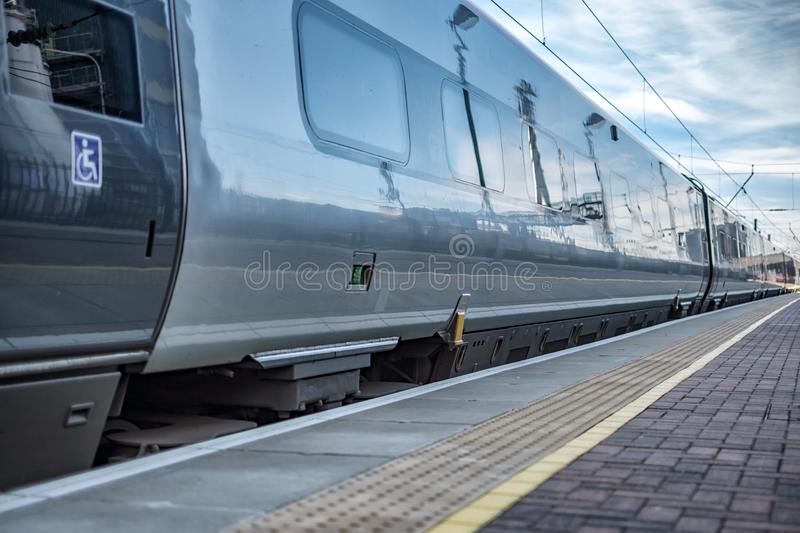 The Train ready to depart. A high speed train at the platform about to depart the station royalty free stock images