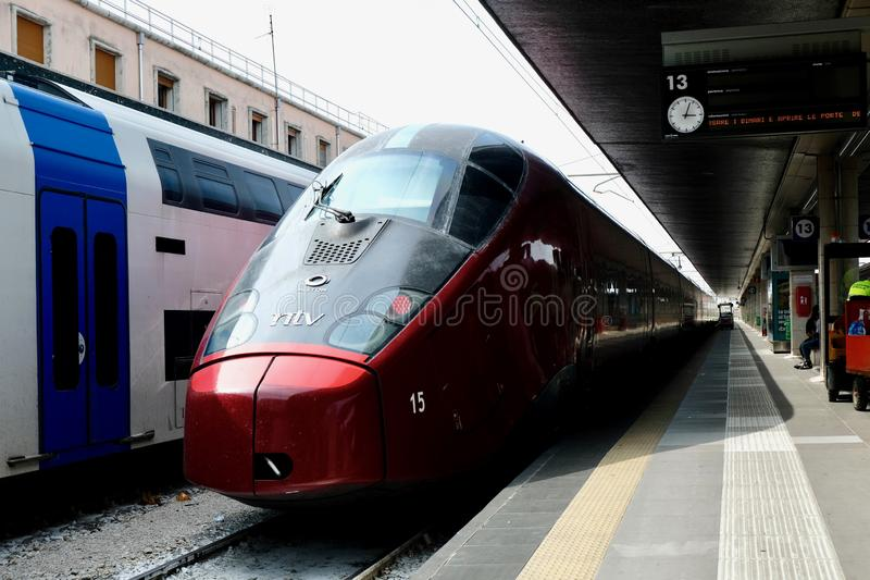 High-speed train at the station stock photography