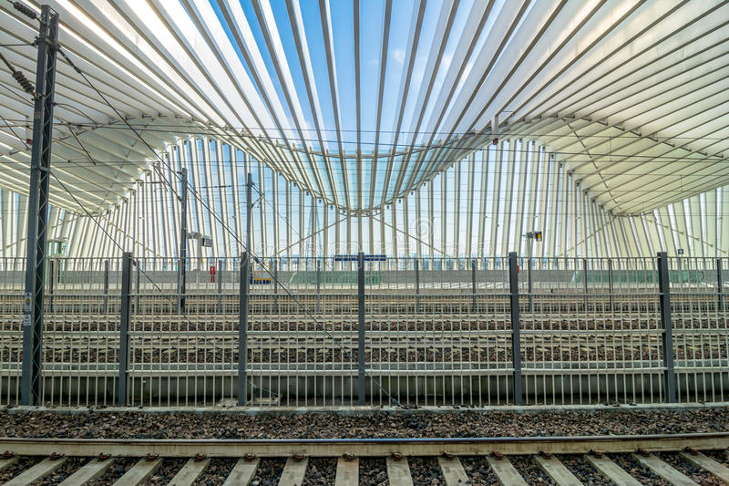 High Speed Train Station in Reggio Emilia, Italy. REGGIO EMILIA, ITALY - MARCH 12, 2015: detail of Mediopadana High Speed Train Station in Reggio Emilia, Italy royalty free stock photography