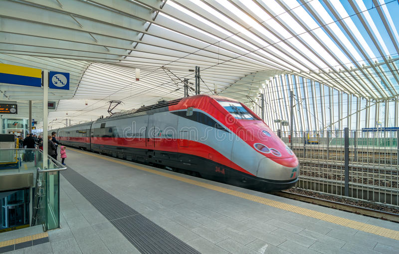 High Speed Train and Station in Reggio Emilia, Italy royalty free stock photography
