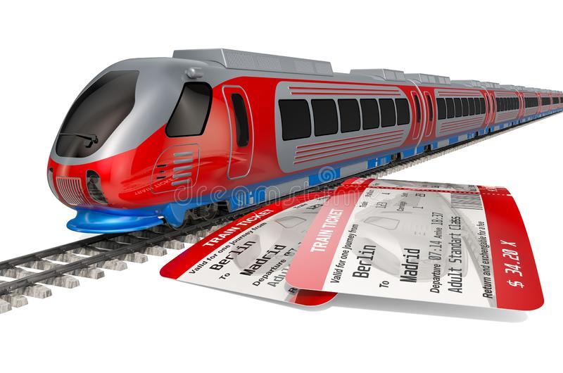 High speed train with tickets. Travel concept, 3D rendering. Isolated on white background stock illustration