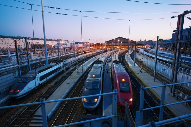 High-speed trains at Gare Du Nord station, Paris. High-speed trains at the platforms of Gare Du Nord station view from Boulevard de la Chapelle, Paris, France stock images