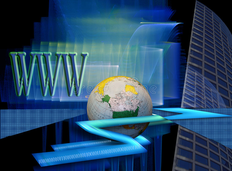 High speed ww internet and E-commerce. This image shows speed and is connected to fast Internet connections. The WWW, globe, binary codes, grid and building with vector illustration