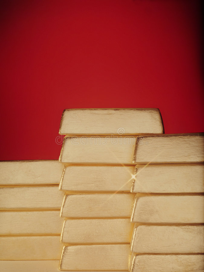 High stacks of bars of gold. royalty free stock photography