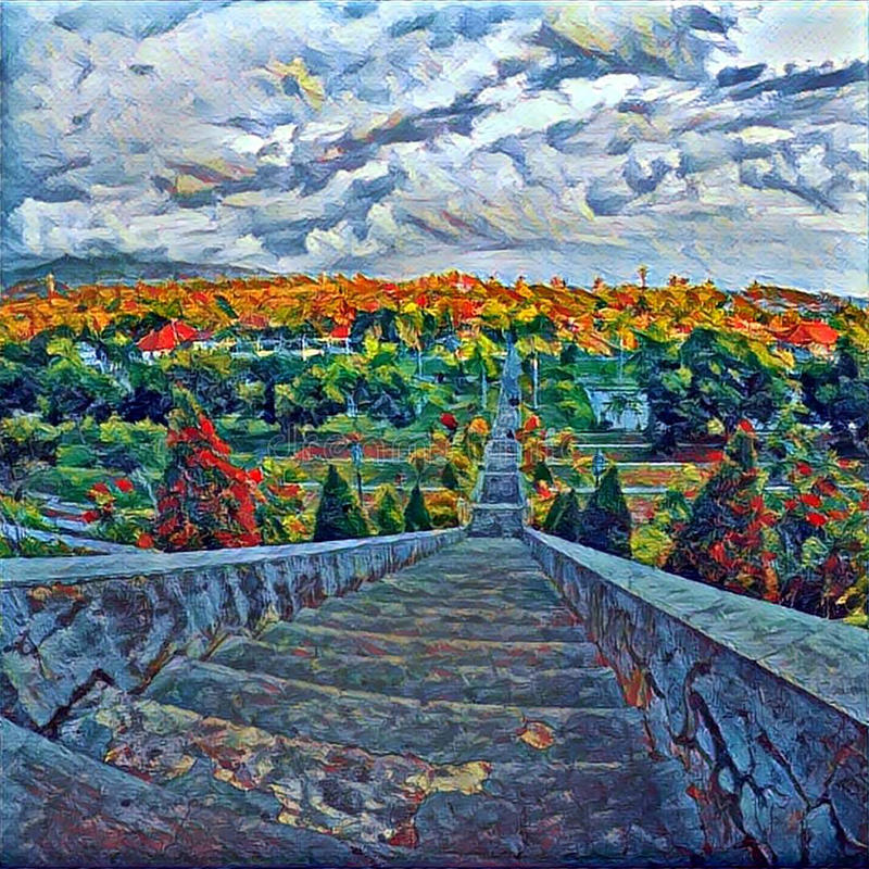 High stair in tropic park with top view landscape. Cloudy sky and forest land. Autumn colored tree crowns. Concrete steps going down. Outdoor travel in Asia royalty free illustration