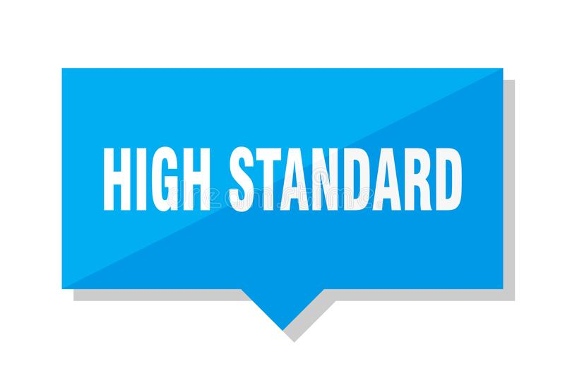 High standard price tag. High standard blue square price tag royalty free illustration