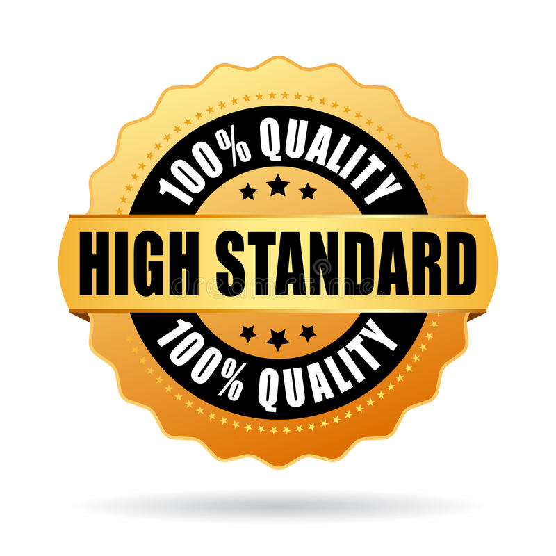 High standard gold star vector icon stock illustration