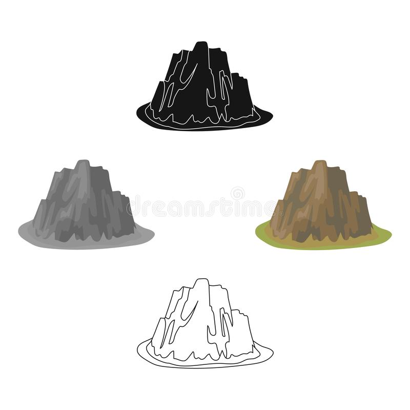 High steep mountain with grass the dark colors with sharp spikes.Different mountains single icon in cartoon,black style. Vector symbol stock web illustration vector illustration