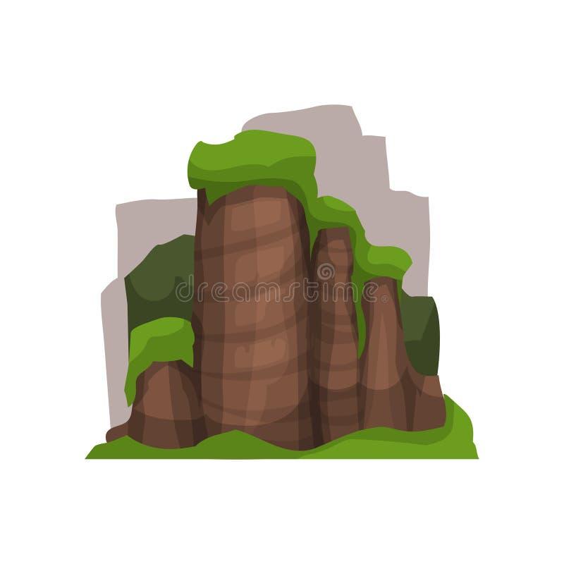 High stone rocks in summer season, outdoor design element, nature landscape, mountainous geology vector Illustration vector illustration