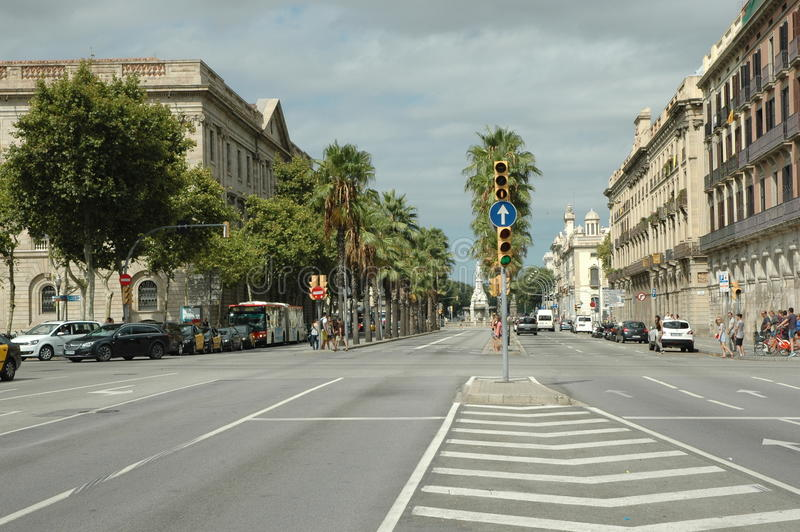 High street in Barcelona stock images
