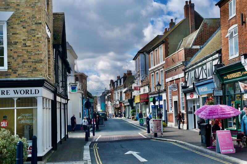 On the High street  at Hythe Kent. Hythe  county of Kent England  United Kingdom Europe royalty free stock images