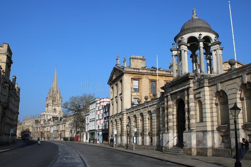 High Street and Queens College, Oxford, England royalty free stock image