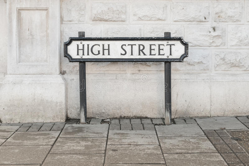 High Street road sign stock photography
