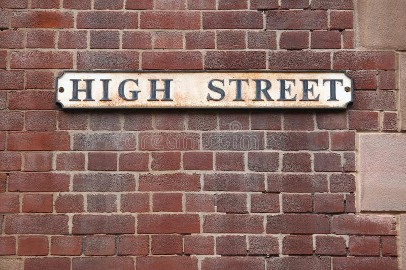 High Street, Rotherham. Rotherham, town in South Yorkshire, England. High Street sign royalty free stock image
