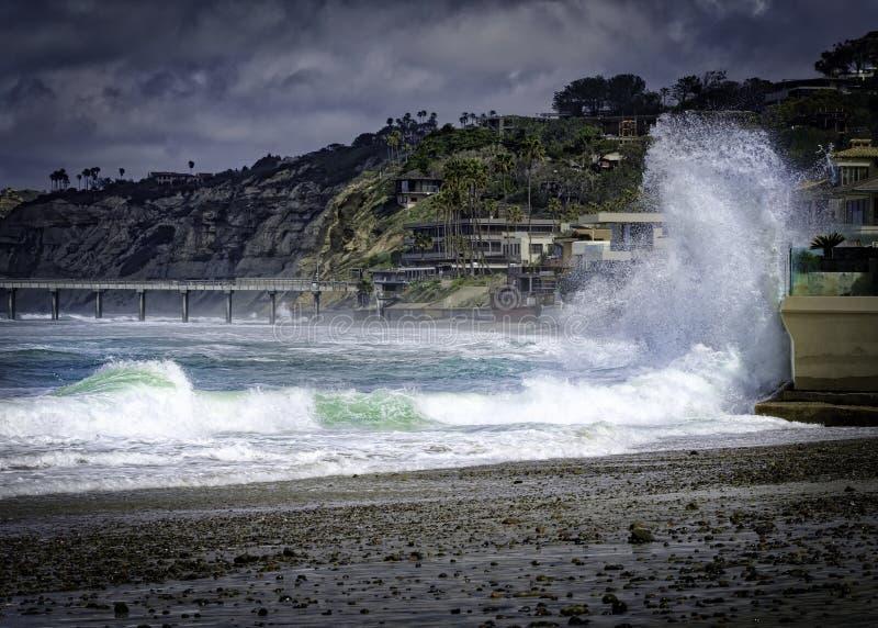 High Surf, La Jolla, Californa royalty free stock photos