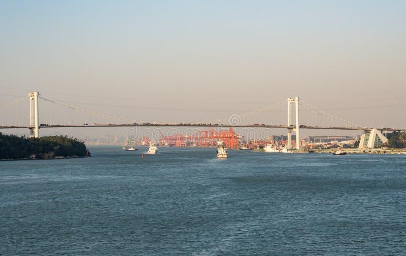 High suspension bridge across port of Xiamen in China stock image
