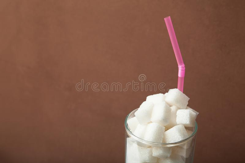 High sweet and caloric content of soda and energy drinks concept in unhealthy nutrition.  royalty free stock images