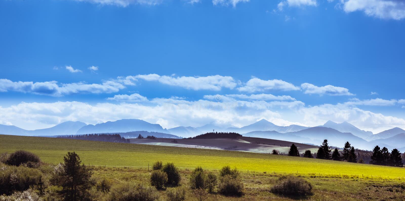 High Tatra mountain range with its spruce tree forests, alpine mountains royalty free stock photo