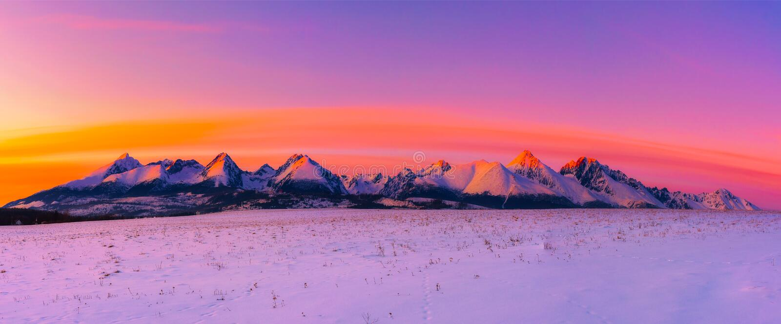 High Tatra Mountains in winter at sunset stock photo