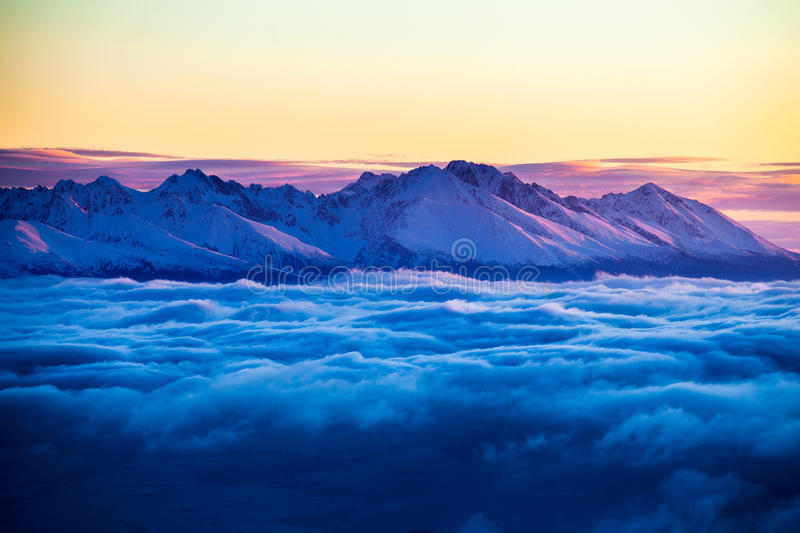 High Tatras inversion. High Tatras with beautiful morning inversion stock image