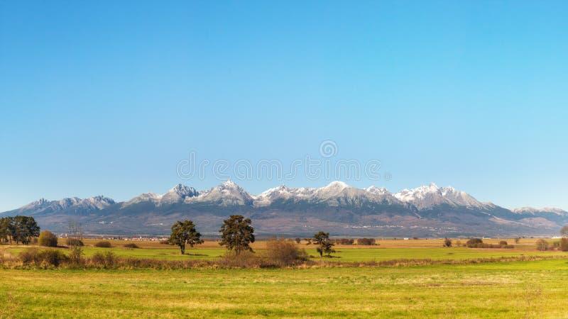 High Tatras Mountain Range. Panoramic View of High Tatras Mountain Range, Slovakia royalty free stock photos