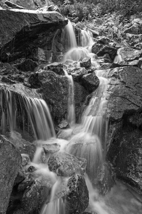 High Tatras - The waterfalls over the Morskie Oko lake stock photography