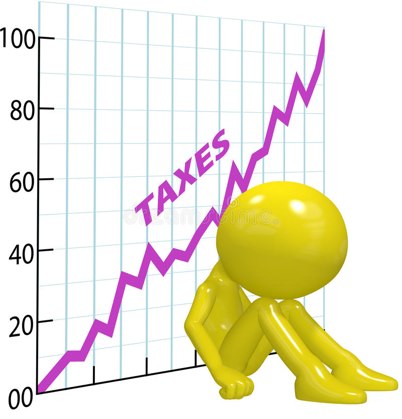 High tax increase chart ruin 3D taxpayer stock illustration
