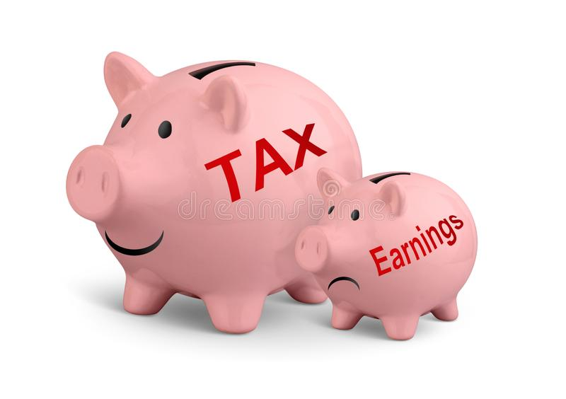 High taxes creative concept, two piggy banks on white stock image