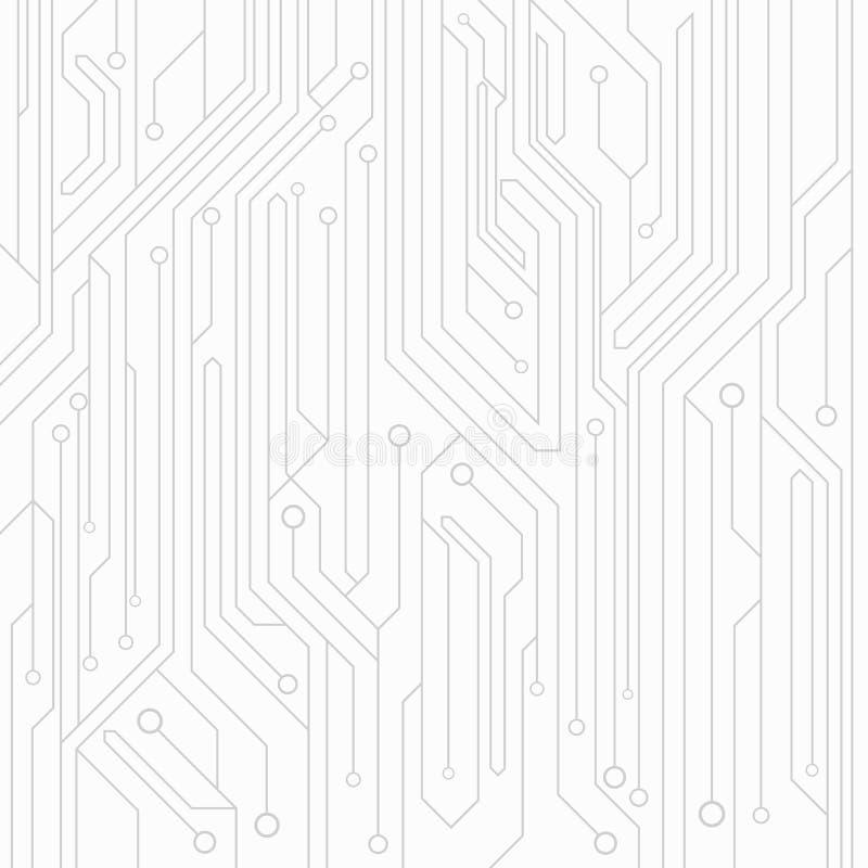 High-tech achtergrond van witte kleur van een computerraad met schakelaars van grijze kleur Computerkring Vector illustratie stock illustratie