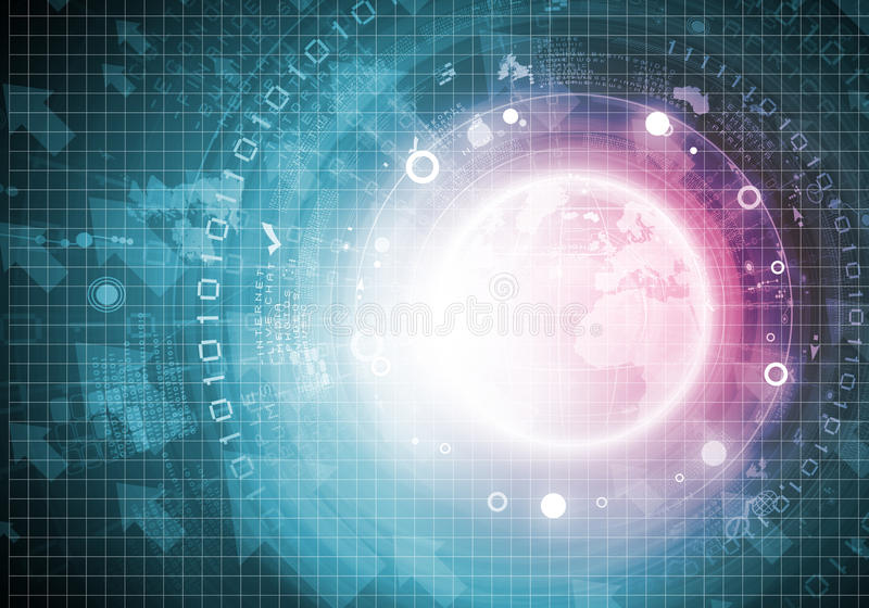 High tech background. Blue digital background image with globe and map royalty free illustration