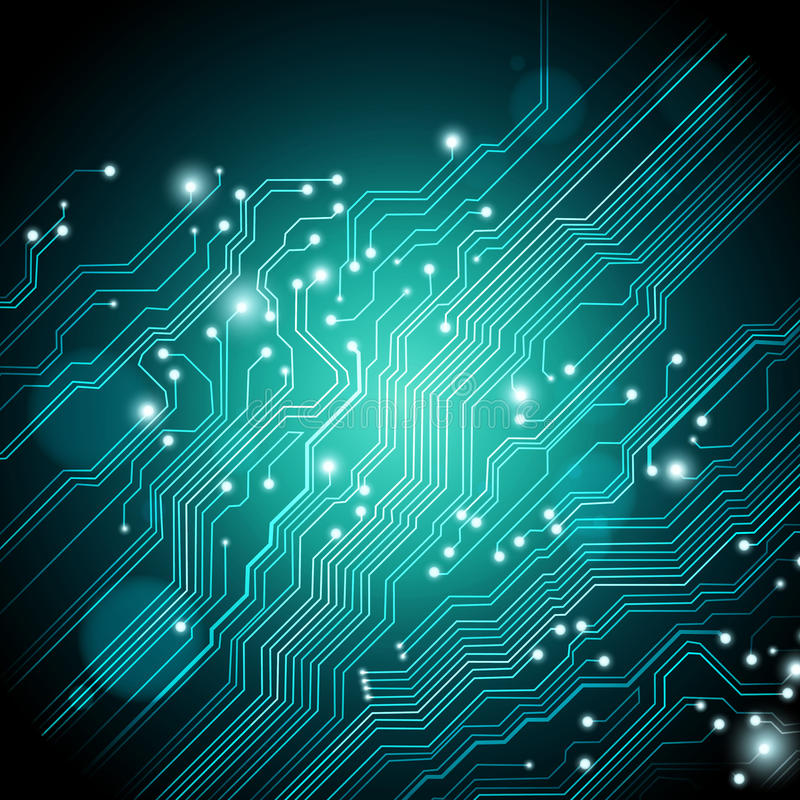 High tech background - vector is available. Abstract blue-green high tech background with printed circuit board texture vector stock illustration