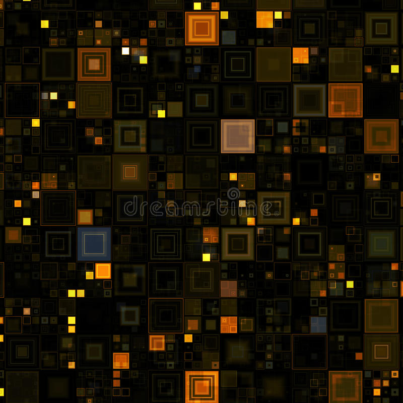 High-tech Brown Boxes Background. Various sized brown, yellow and gold boxes on black background stock illustration