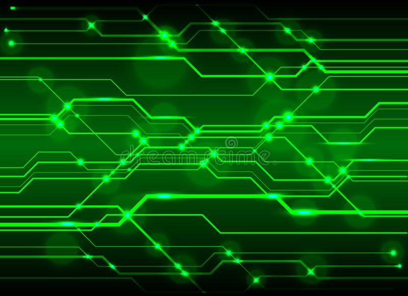 High-Tech Circuit Board Background, Technology green circuit abs. Tract background vector illustration