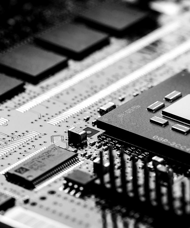 High Tech Circuit Board close up, macro. concept of information technology. Printed circuit board with components. close up, macro. concept of information stock image